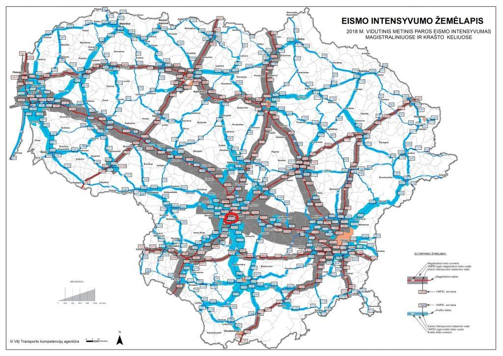 transporto-priemoniu-intensyvumo-zemėlapis-lengvieji-automobiliai